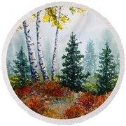 Autumn Birch Round Beach Towel by Carolyn Rosenberger