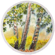 Autumn Birch Trees Round Beach Towel