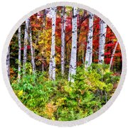 Round Beach Towel featuring the painting Autumn Birches by Christopher Arndt