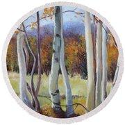 Autumn Birches Round Beach Towel