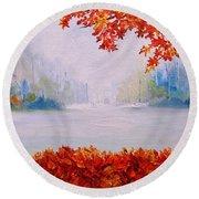 Autumn Blaze Maple Trees Round Beach Towel