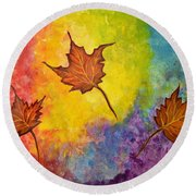 Autumn Bliss Colorful Abstract Painting Round Beach Towel