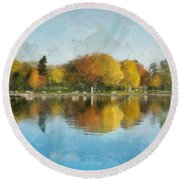 Autumn Blues Round Beach Towel
