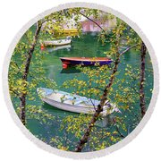Autumn. Boats Round Beach Towel
