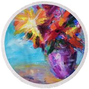 Colorful Flowers  Round Beach Towel