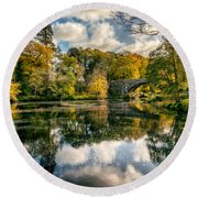 Autumn Bridge Round Beach Towel by Adrian Evans
