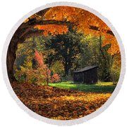 Autumn Brilliance Round Beach Towel by Tricia Marchlik