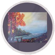 Autumn By The Creek Round Beach Towel