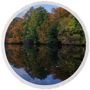 Round Beach Towel featuring the photograph Autumn By The Pond by RKAB Works