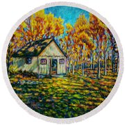 Autumn Cabin Trip Round Beach Towel