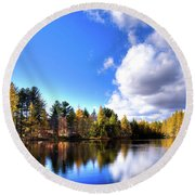 Round Beach Towel featuring the photograph Autumn Calm At Woodcraft Camp by David Patterson