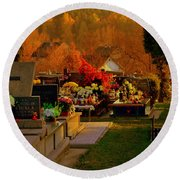 Autumn Cemetery Round Beach Towel