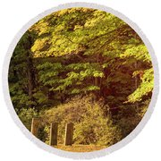 Round Beach Towel featuring the photograph Autumn Cemetery by Tom Singleton