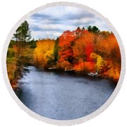 Autumn Channel Round Beach Towel