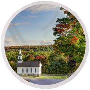 Round Beach Towel featuring the photograph Autumn Church II by Rod Best