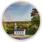 Autumn Church II Round Beach Towel