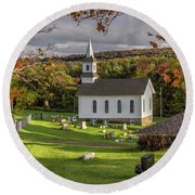 Round Beach Towel featuring the photograph Autumn Church by Rod Best