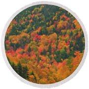 Autumn Clouds On Crawford Notch Road Round Beach Towel