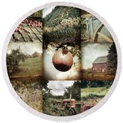 Round Beach Towel featuring the photograph Autumn Collage - Autumn In New England by Joann Vitali