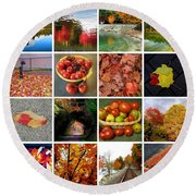 Autumn Collage  Round Beach Towel