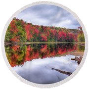 Round Beach Towel featuring the photograph Autumn Color At The Pond by David Patterson