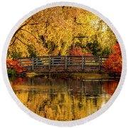 Autumn Color By The Pond Round Beach Towel