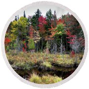 Round Beach Towel featuring the photograph Autumn Color In The Adirondacks by David Patterson