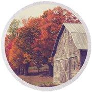 Autumn Color On The Old Farm Round Beach Towel by Edward Fielding