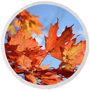 Round Beach Towel featuring the photograph Autumn Colors 2 by Angie Tirado
