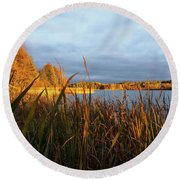 Autumn Colors At The Lake Enajarvi Round Beach Towel