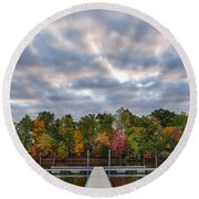 Autumn Colors At The Lake Round Beach Towel
