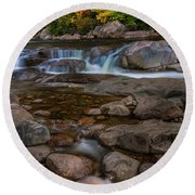 Autumn Colors In White Mountains New Hampshire Round Beach Towel