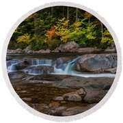 Round Beach Towel featuring the photograph Autumn Colors In White Mountains New Hampshire by Ranjay Mitra