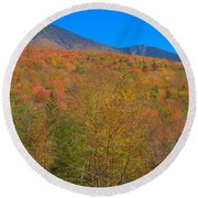 Autumn Colors Of White Mountains New Hampshire Round Beach Towel