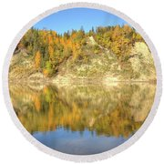 Autumn Colors On The North Saskatchewan River Round Beach Towel