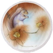Autumn Come Softly Squirrel Round Beach Towel