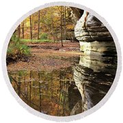 Autumn Comes To Illinois Canyon  Round Beach Towel