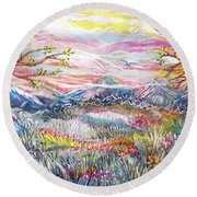 Autumn Country Mountains Round Beach Towel