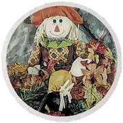 Round Beach Towel featuring the digital art Autumn Country Scarecrow by Kathy Kelly
