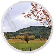 Autumn Country View Round Beach Towel