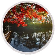 Autumn Creek Magic Round Beach Towel