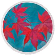 Autumn Crimson Round Beach Towel