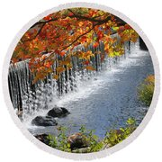 Autumn Dam Round Beach Towel