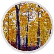 Autumn  Day In The Woods Round Beach Towel by MaryLee Parker