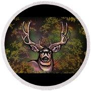 Autumn Deer Abstract Round Beach Towel