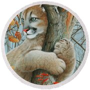 Round Beach Towel featuring the painting Autumn Dew by Mike Brown