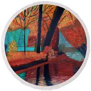 Round Beach Towel featuring the painting Autumn Dreams by Magdalena Frohnsdorff
