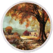 Autumn Dreams Round Beach Towel