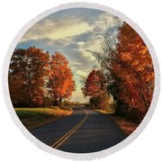 Round Beach Towel featuring the photograph Autumn Drive by Kendall McKernon