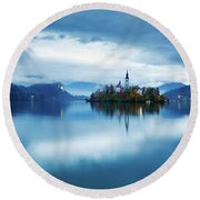 Autumn Dusk At Lake Bled Round Beach Towel by Ian MiddlAutumn colours at Lake Bledeton